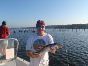 Fishing for speckled trout red fish in mobile bay